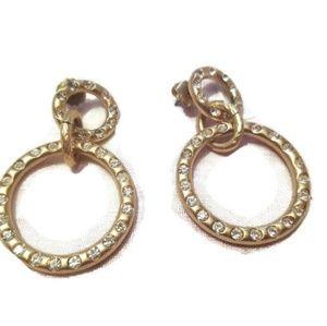 Gold and Rhinestone Circle Drop Earrings